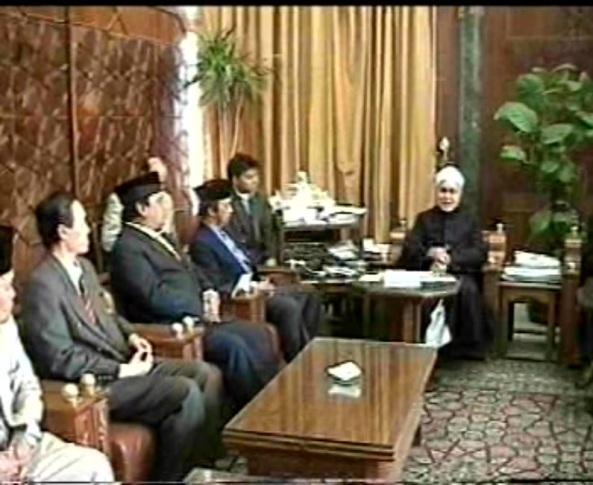 Beraudiensi dgn Syekh Tantawi, Rektor Universitas Al-Azhar Mesir. Beliau menyatakan Pancasila merupakan Pancaran Syariat Islam,
